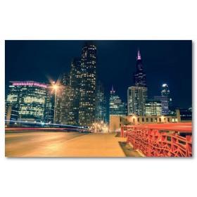 Αφίσα (chicago, νύχτα, ΗΠΑ, ουρανοξύστες, νύχτα, φώτα)